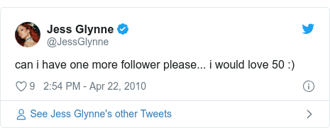Twitter post by @JessGlynne: can i have one more follower please... i would love 50  )