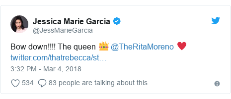 Twitter post by @JessMarieGarcia: Bow down!!!! The queen 👑 @TheRitaMoreno ♥️