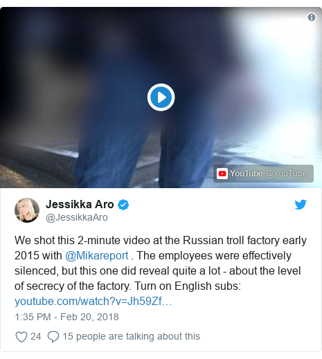 Twitter post by @JessikkaAro: We shot this 2-minute video at the Russian troll factory early 2015 with @Mikareport . The employees were effectively silenced, but this one did reveal quite a lot - about the level of secrecy of the factory. Turn on English subs