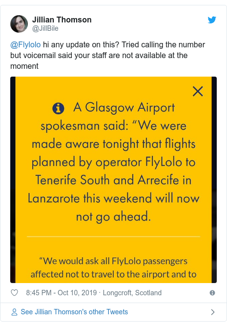 Twitter post by @JillBile: @Flylolo hi any update on this? Tried calling the number but voicemail said your staff are not available at the moment