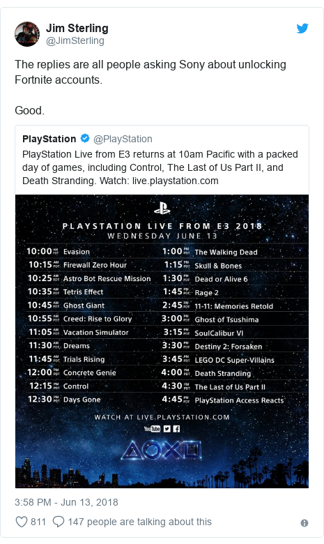 Twitter post by @JimSterling: The replies are all people asking Sony about unlocking Fortnite accounts. Good.