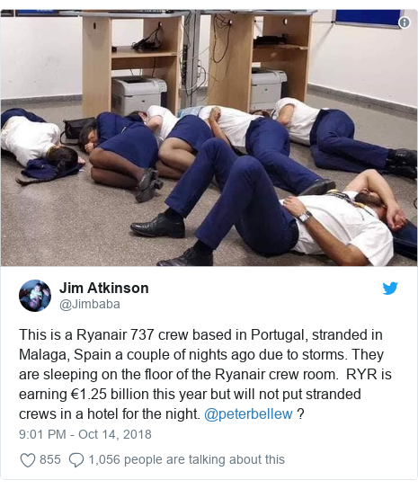 Twitter post by @Jimbaba: This is a Ryanair 737 crew based in Portugal, stranded in Malaga, Spain a couple of nights ago due to storms. They are sleeping on the floor of the Ryanair crew room.  RYR is earning €1.25 billion this year but will not put stranded crews in a hotel for the night. @peterbellew ?