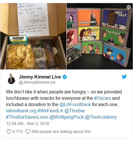 Twitter post by @JimmyKimmelLive: We don't like it when people are hungry – so we provided lunchboxes with snacks for everyone at the #Oscars and included a donation to the @LAFoodBank for each one.  #WeFeedLA @ThisBar #ThisBarSavesLives @WolfgangPuck @TheAcademy