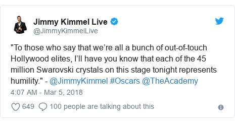 "Twitter post by @JimmyKimmelLive: ""To those who say that we're all a bunch of out-of-touch Hollywood elites, I'll have you know that each of the 45 million Swarovski crystals on this stage tonight represents humility."" - @JimmyKimmel #Oscars @TheAcademy"