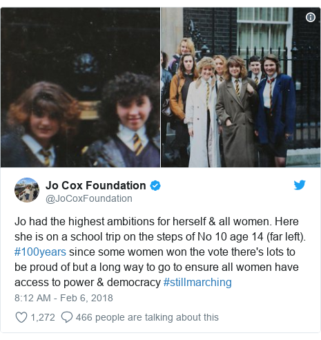 Twitter post by @JoCoxFoundation: Jo had the highest ambitions for herself & all women. Here she is on a school trip on the steps of No 10 age 14 (far left). #100years since some women won the vote there's lots to be proud of but a long way to go to ensure all women have access to power & democracy #stillmarching