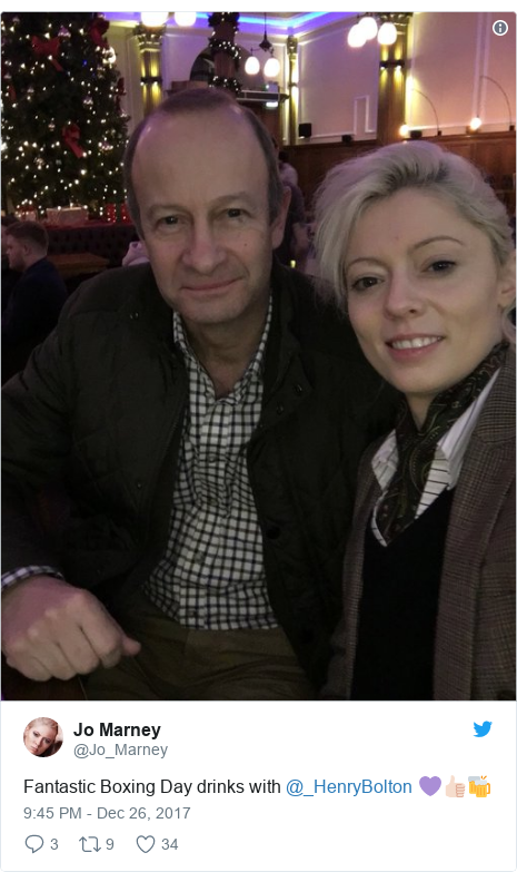 Twitter post by @Jo_Marney: Fantastic Boxing Day drinks with @_HenryBolton  💜👍🏻🍻