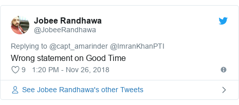 Twitter post by @JobeeRandhawa: Wrong statement on Good Time