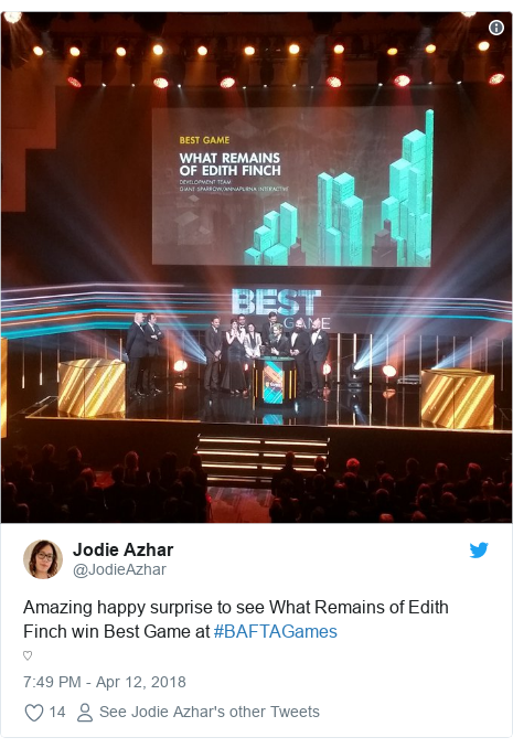 Twitter post by @JodieAzhar: Amazing happy surprise to see What Remains of Edith Finch win Best Game at #BAFTAGames ♡