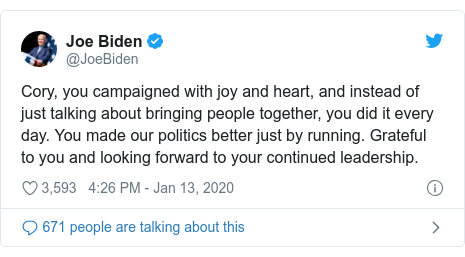 Twitter post by @JoeBiden: Cory, you campaigned with joy and heart, and instead of just talking about bringing people together, you did it every day. You made our politics better just by running. Grateful to you and looking forward to your continued leadership.