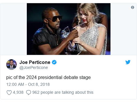 Twitter post by @JoePerticone: pic of the 2024 presidential debate stage