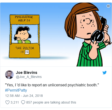 "Twitter post by @Joe_A_Blevins: ""Yes, I 'd like to report an unlicensed psychiatric booth."" #PermitPatty"