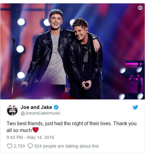 Twitter post by @JoeandJakemusic: Two best friends, just had the night of their lives. Thank you all so much❤️