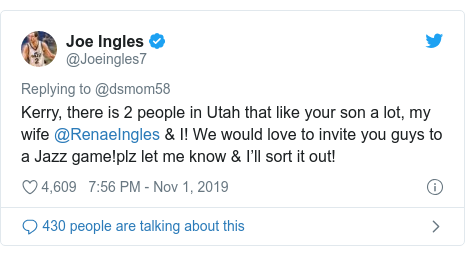 Twitter post by @Joeingles7: Kerry, there is 2 people in Utah that like your son a lot, my wife @RenaeIngles & I! We would love to invite you guys to a Jazz game!plz let me know & I'll sort it out!