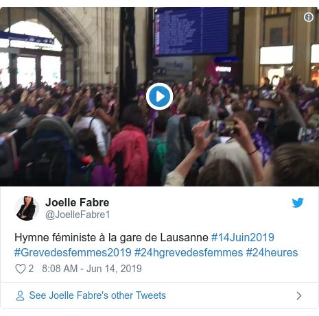 Twitter post by @JoelleFabre1: Hymne féministe à la gare de Lausanne #14Juin2019 #Grevedesfemmes2019 #24hgrevedesfemmes #24heures