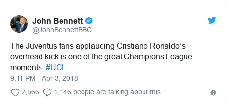 Ujumbe wa Twitter wa @JohnBennettBBC: The Juventus fans applauding Cristiano Ronaldo's overhead kick is one of the great Champions League moments. #UCL