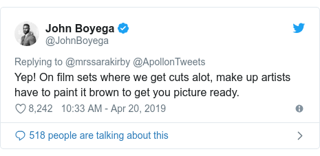 Twitter post by @JohnBoyega: Yep! On film sets where we get cuts alot, make up artists have to paint it brown to get you picture ready.