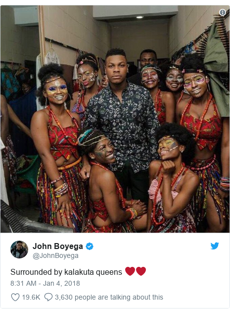 Twitter post by @JohnBoyega: Surrounded by kalakuta queens ❤️❤️