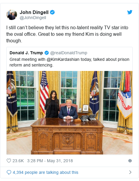 Twitter post by @JohnDingell: I still can't believe they let this no-talent reality TV star into the oval office. Great to see my friend Kim is doing well though.