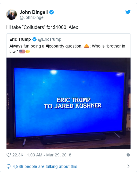 "Twitter post by @JohnDingell: I'll take ""Colluders"" for $1000, Alex."
