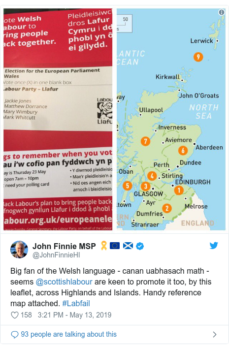Twitter post by @JohnFinnieHI: Big fan of the Welsh language - canan uabhasach math - seems ⁦@scottishlabour⁩ are keen to promote it too, by this leaflet, across Highlands and Islands. Handy reference map attached. #Labfail