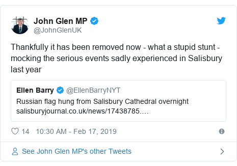 Twitter post by @JohnGlenUK: Thankfully it has been removed now - what a stupid stunt - mocking the serious events sadly experienced in Salisbury last year
