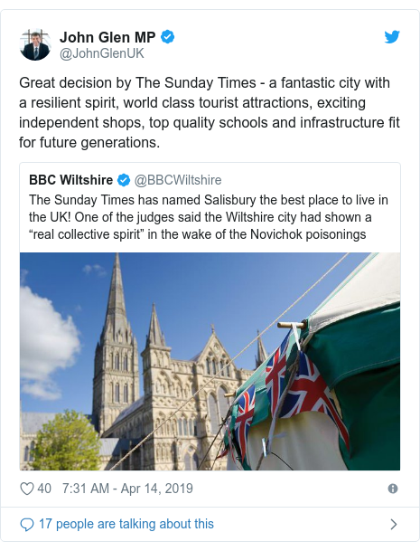 Twitter post by @JohnGlenUK: Great decision by The Sunday Times - a fantastic city with a resilient spirit, world class tourist attractions, exciting independent shops, top quality schools and infrastructure fit for future generations.
