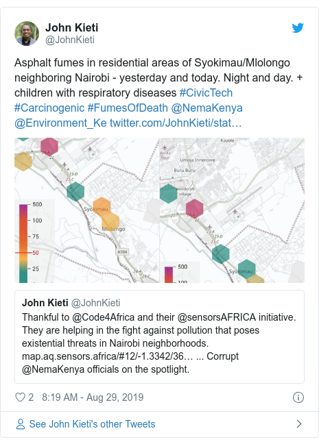Twitter post by @JohnKieti: Asphalt fumes in residential areas of Syokimau/Mlolongo neighboring Nairobi - yesterday and today. Night and day. + children with respiratory diseases #CivicTech #Carcinogenic #FumesOfDeath @NemaKenya @Environment_Ke