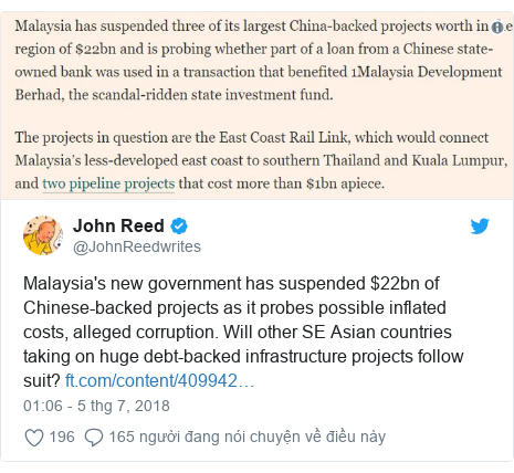 Twitter bởi @JohnReedwrites: Malaysia's new government has suspended $22bn of Chinese-backed projects as it probes possible inflated costs, alleged corruption. Will other SE Asian countries taking on huge debt-backed infrastructure projects follow suit?