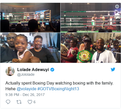 Twitter post by @Jololade: Actually spent Boxing Day watching boxing with the family. Hehe @volayide #GOTVBoxingNight13