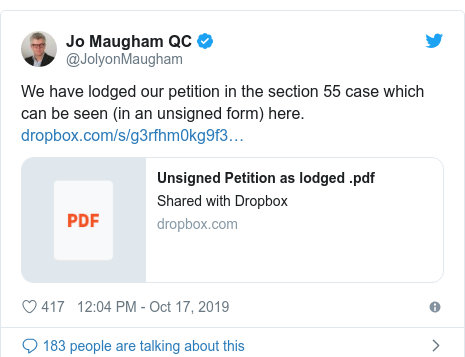 Twitter post by @JolyonMaugham: We have lodged our petition in the section 55 case which can be seen (in an unsigned form) here.