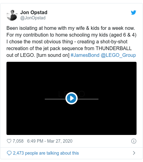 Twitter post by @JonOpstad: Been isolating at home with my wife & kids for a week now. For my contribution to home schooling my kids (aged 6 & 4) I chose the most obvious thing - creating a shot-by-shot recreation of the jet pack sequence from THUNDERBALL out of LEGO. [turn sound on] #JamesBond @LEGO_Group