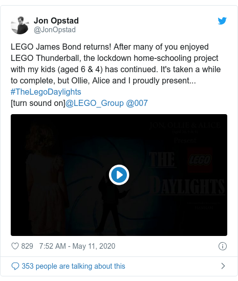 Twitter post by @JonOpstad: LEGO James Bond returns! After many of you enjoyed LEGO Thunderball, the lockdown home-schooling project with my kids (aged 6 & 4) has continued. It's taken a while to complete, but Ollie, Alice and I proudly present... #TheLegoDaylights[turn sound on]@LEGO_Group @007
