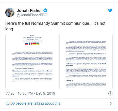 Twitter post by @JonahFisherBBC: Here's the full Normandy Summit communique... it's not long.