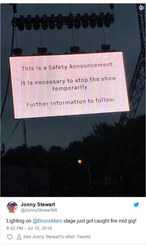 Twitter post by @JonnyStewart88: Lighting on @BrunoMars stage just got caught fire mid gig!