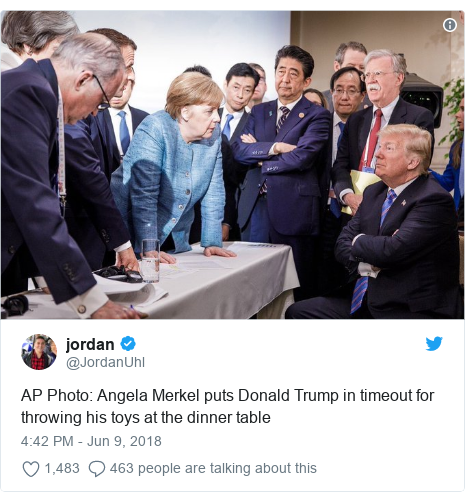 Twitter post by @JordanUhl: AP Photo  Angela Merkel puts Donald Trump in timeout for throwing his toys at the dinner table