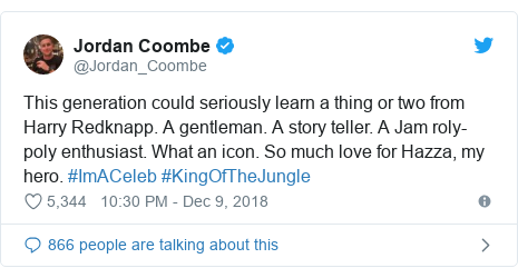 Twitter post by @Jordan_Coombe: This generation could seriously learn a thing or two from Harry Redknapp. A gentleman. A story teller. A Jam roly-poly enthusiast. What an icon. So much love for Hazza, my hero. #ImACeleb #KingOfTheJungle