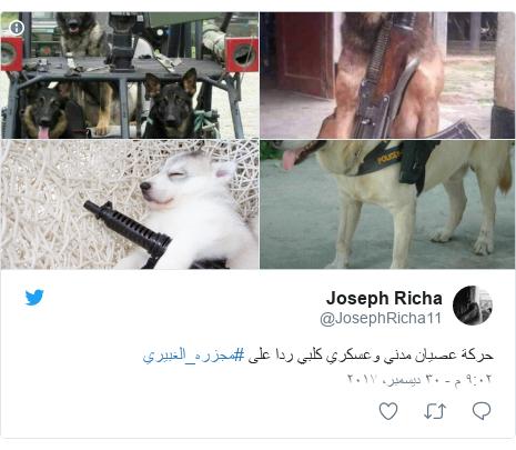 تويتر رسالة بعث بها @JosephRicha11: حركة عصيان مدني وعسكري كلبي ردا على #مجزره_الغبيري