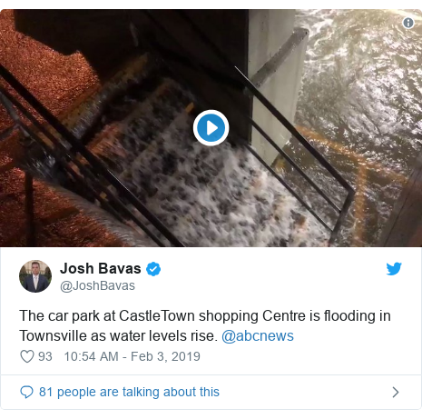 Twitter post by @JoshBavas: The car park at CastleTown shopping Centre is flooding in Townsville as water levels rise. @abcnews
