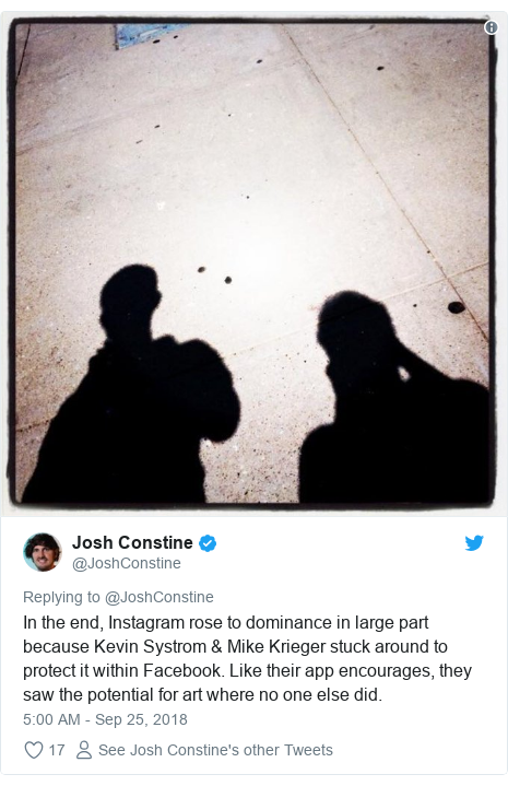Twitter post by @JoshConstine: In the end, Instagram rose to dominance in large part because Kevin Systrom & Mike Krieger stuck around to protect it within Facebook. Like their app encourages, they saw the potential for art where no one else did.