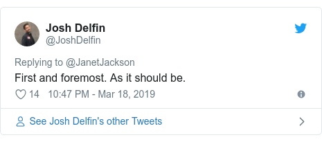 Twitter post by @JoshDelfin: First and foremost. As it should be.