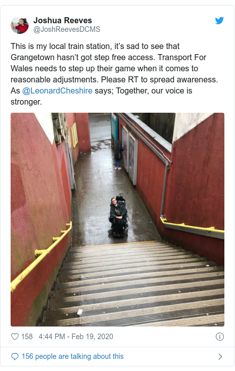 Twitter post by @JoshReevesDCMS: This is my local train station, it's sad to see that Grangetown hasn't got step free access. Transport For Wales needs to step up their game when it comes to reasonable adjustments. Please RT to spread awareness. As @LeonardCheshire says; Together, our voice is stronger.