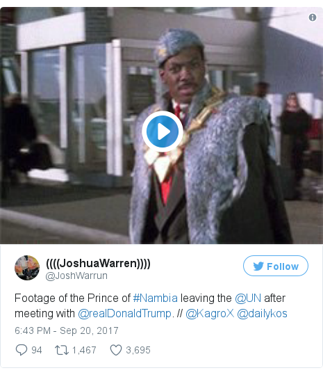 Twitter post by @JoshWarrun: Footage of the Prince of #Nambia leaving the @UN after meeting with @realDonaldTrump. // @KagroX @dailykos pic.twitter.com/85vXKH5Q2E