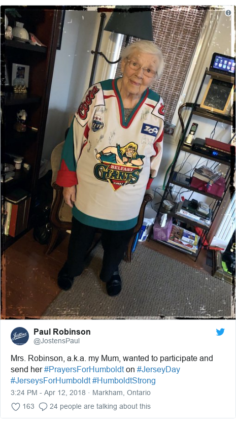 Twitter post by @JostensPaul: Mrs. Robinson, a.k.a. my Mum, wanted to participate and send her #PrayersForHumboldt on #JerseyDay #JerseysForHumboldt #HumboldtStrong