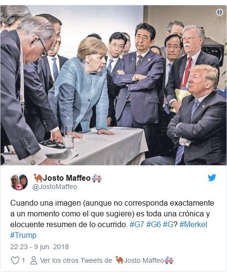 Publicación de Twitter por @JostoMaffeo: Cuando una imagen (aunque no corresponda exactamente a un momento como el que sugiere) es toda una crónica y elocuente resumen de lo ocurrido. #G7 #G6 #G? #Merkel #Trump
