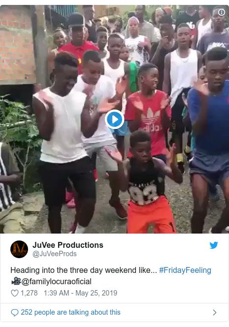 Ujumbe wa Twitter wa @JuVeeProds: Heading into the three day weekend like... #FridayFeeling 🎥@familylocuraoficial