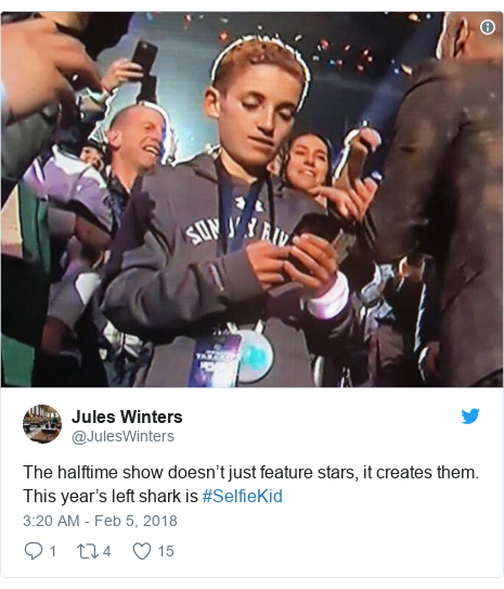 Twitter post by @JulesWinters: The halftime show doesn't just feature stars, it creates them. This year's left shark is #SelfieKid