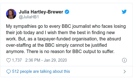 Twitter post by @JuliaHB1: My sympathies go to every BBC journalist who faces losing their job today and I wish them the best in finding new work. But, as a taxpayer-funded organisation, the absurd over-staffing at the BBC simply cannot be justified anymore. There is no reason for BBC output to suffer.