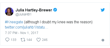 Twitter post by @JuliaHB1: #Kneegate (although I doubt my knee was the reason)