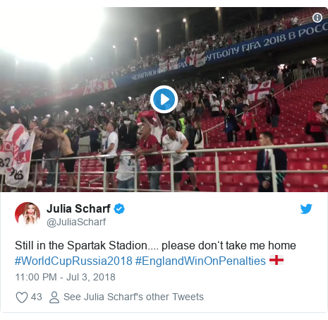 Twitter post by @JuliaScharf: Still in the Spartak Stadion.... please don't take me home #WorldCupRussia2018 #EnglandWinOnPenalties 🏴󠁧󠁢󠁥󠁮󠁧󠁿