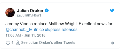 Twitter post by @Julian5News: Jeremy Vine to replace Matthew Wright. Excellent news for @channel5_tv